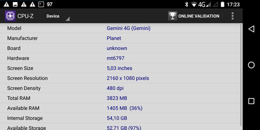 Gemini PDA device info - CPUZ