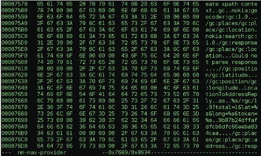 Hexedit view of nm-nav-provider token location for webservice